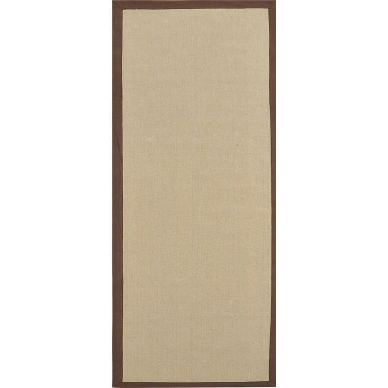 Durry Natural Jute Runner Rug in Natural with Chocolate Edge - 80x300cm