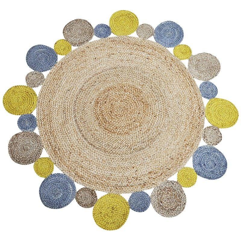 Fania Bloom 120cm Round Indoor/Outdoor Jute Rug - Yellow/Natural