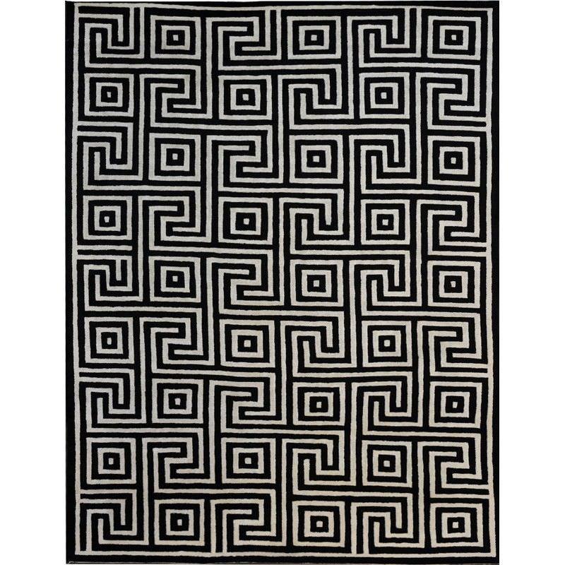 Devran Nepali Hand Crafted Woolen Rug in Black/White - 170x240cm