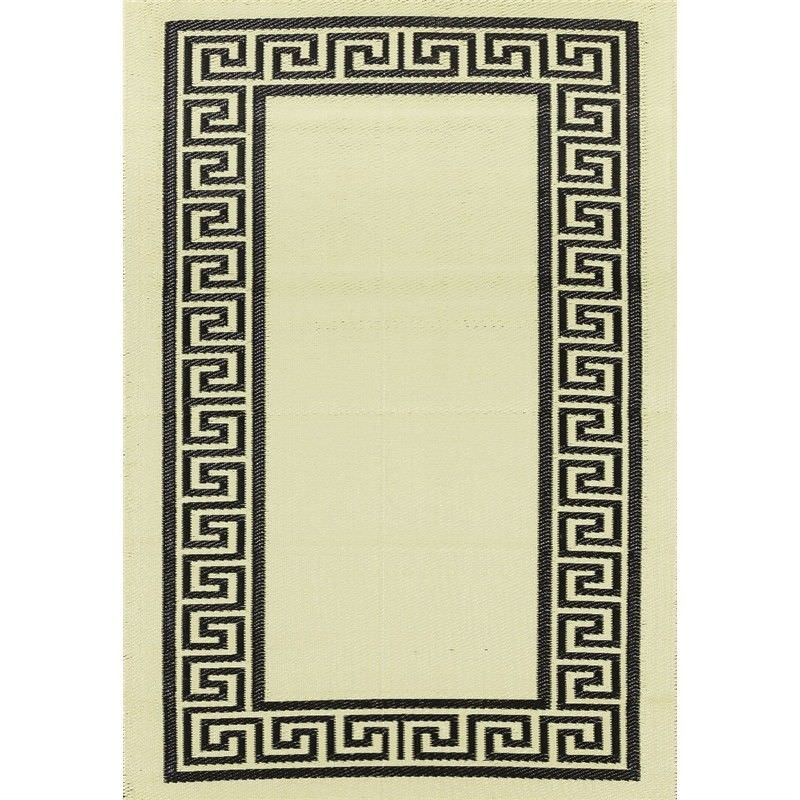 Trendy Greek Key Hand Crafted Outdoor Rug in Light Cream/Black - 150x240cm