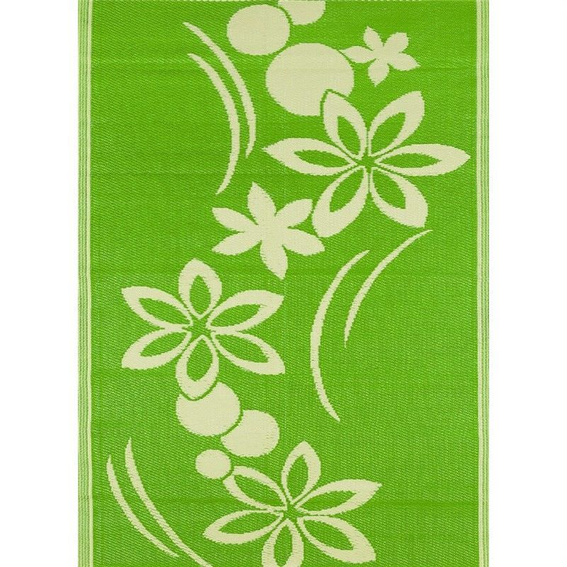 Trendy Pink Flower Hand Crafted Outdoor Rug in Light Cream/Green - 150x240cm