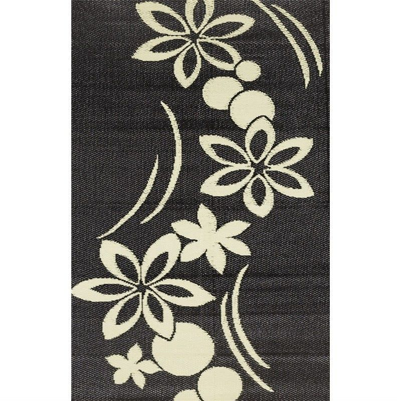 Trendy Pink Flower Hand Crafted Outdoor Rug in Light Cream/Black - 150x240cm