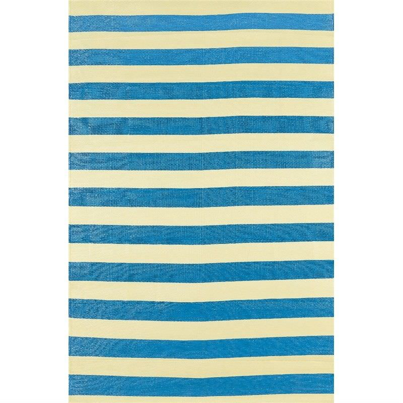Trendy Stripes Hand Crafted Outdoor Rug in Light Cream/ Blue - 120x180cm
