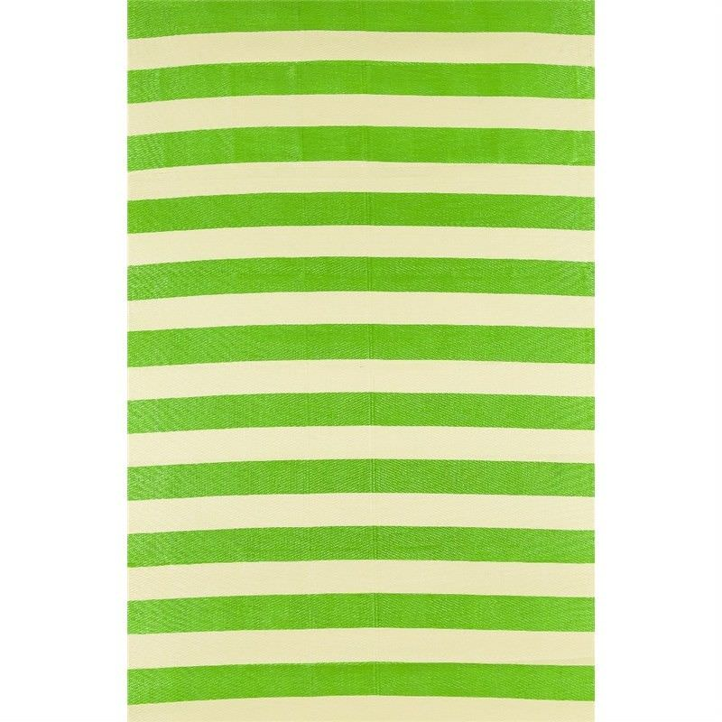 Trendy Stripes Hand Crafted Outdoor Rug in Light Cream/Green - 150x240cm