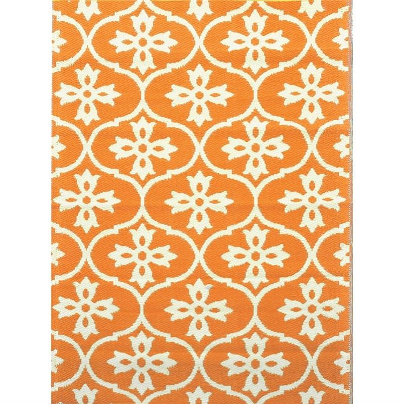 Trendy Moroccan Tile Hand Crafted Outdoor Rug in Light Cream/Orange - 150x240cm