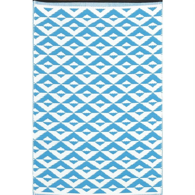 Trendy Barfi Hand Crafted Outdoor Rug in Torquise/White - 150x240cm
