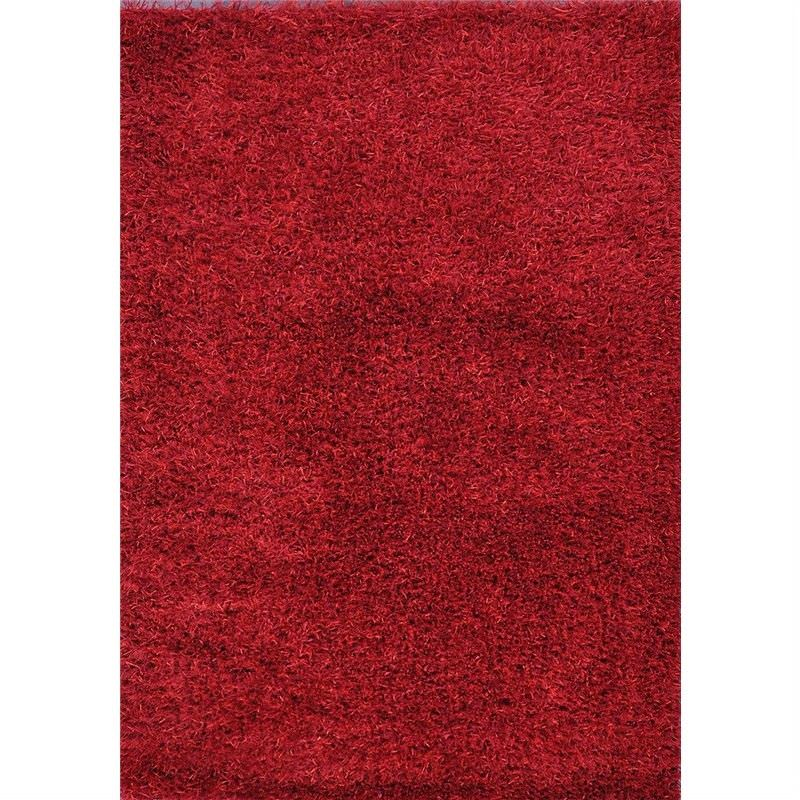 Spaghetti Hand Woven Shaggy Rug in Red - 230x160cm