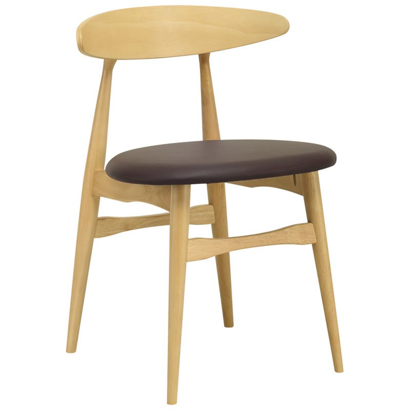 Telyn Oak Timber Dining Chair, Natural / Mocha