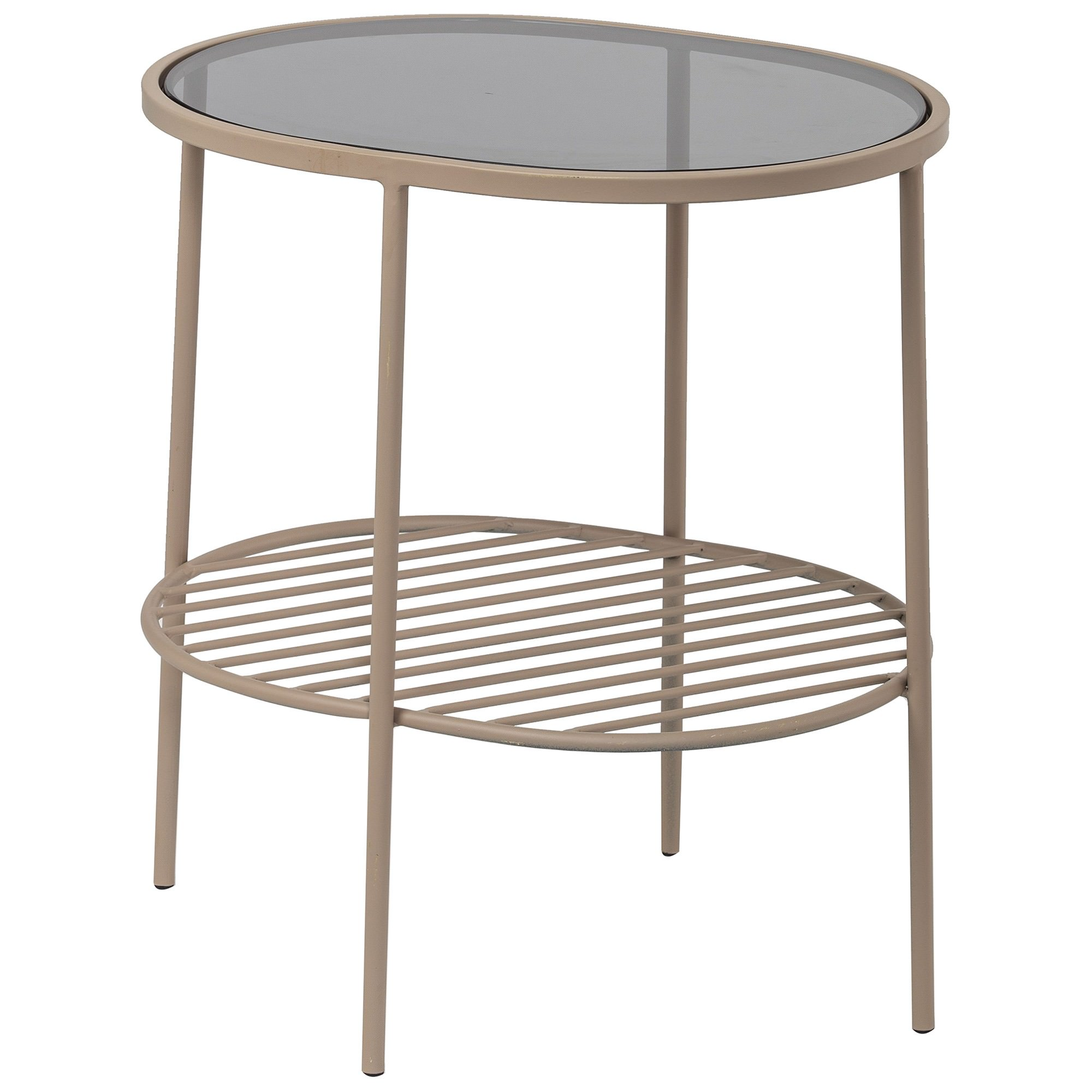 Aili Metal & Glass Side Table, Pale Pink
