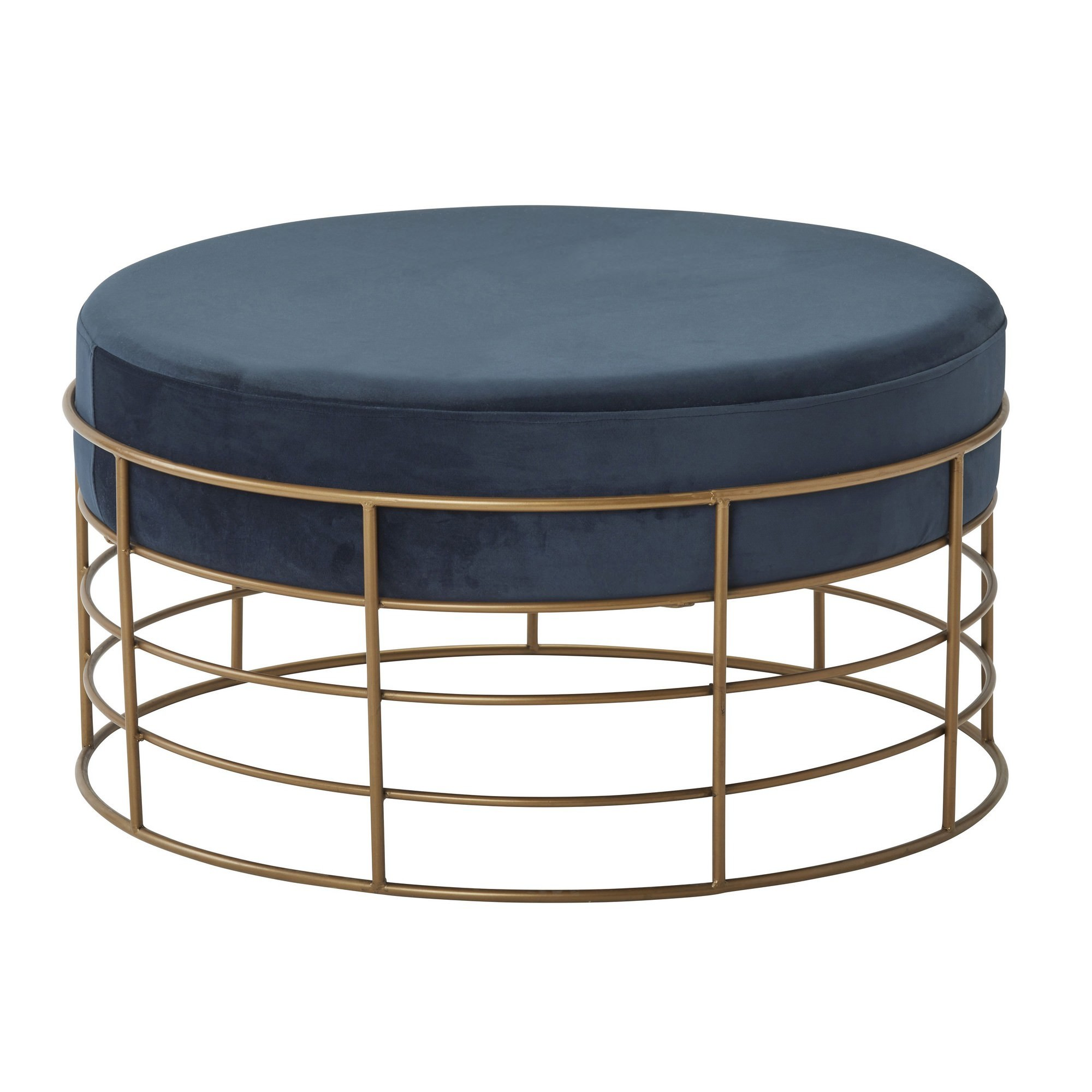 Dover  Velvet Fabric Round Coffee Table / Ottoman, 74cm