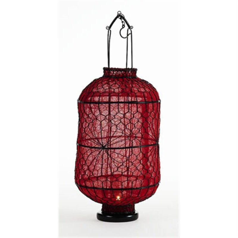 Wire Lantern in Red - Medium