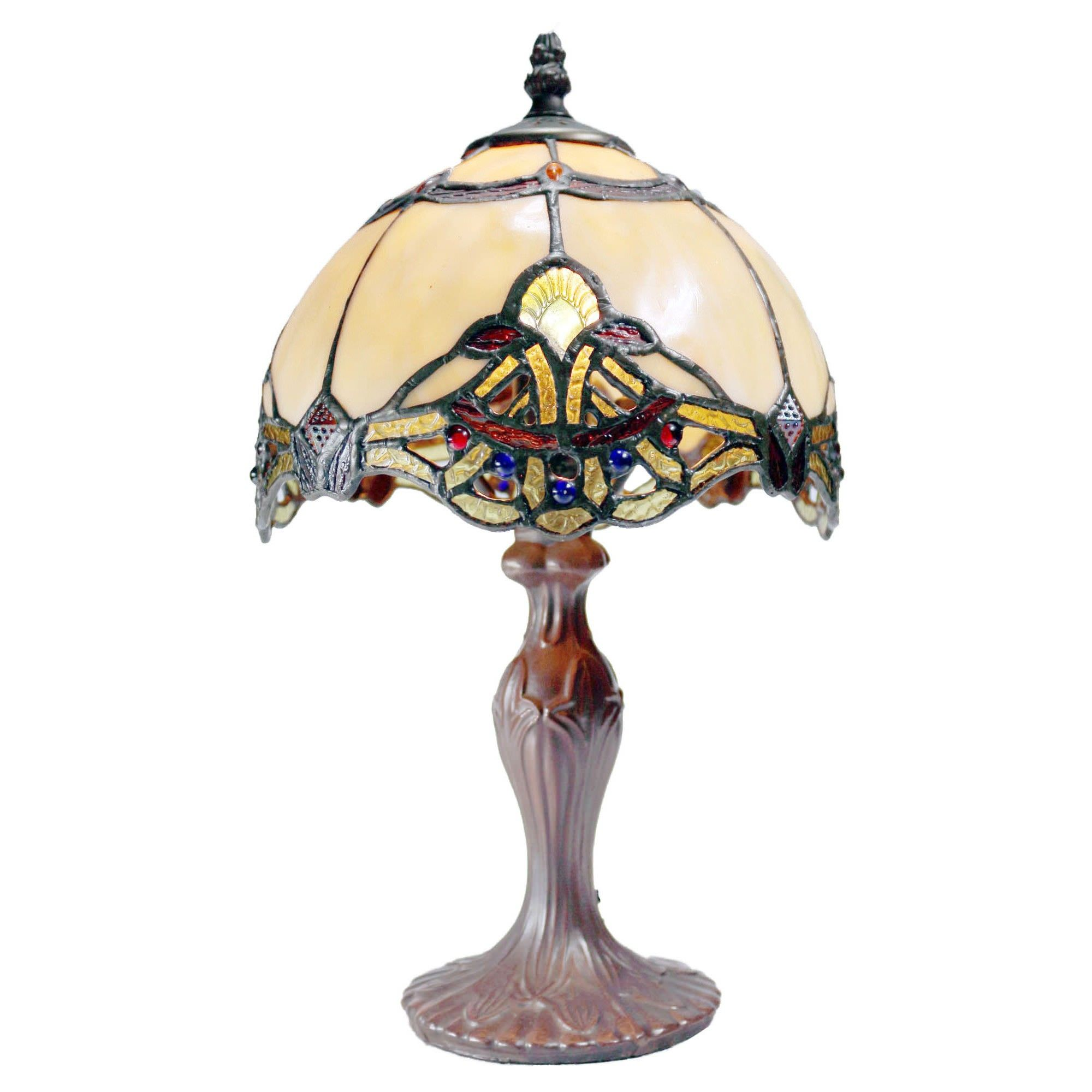 Memphis Tiffany Style Stained Glass Table Lamp, Beige, Extra Small