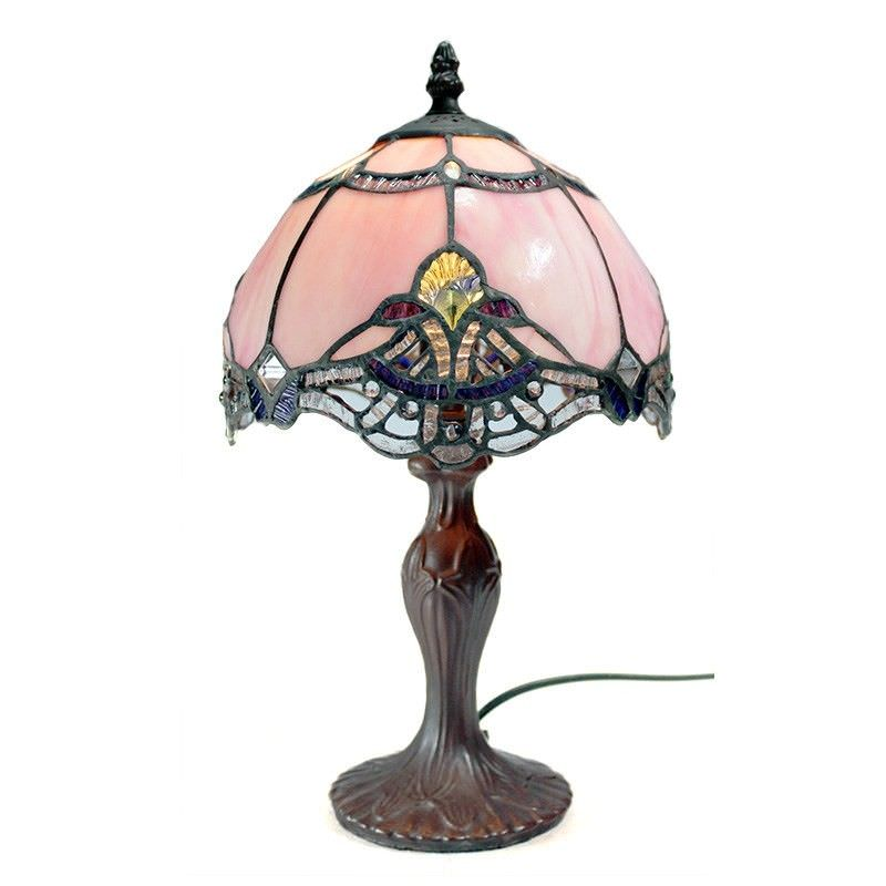 Memphis Tiffany Style Stained Glass Table Lamp, Extra Small, Blush
