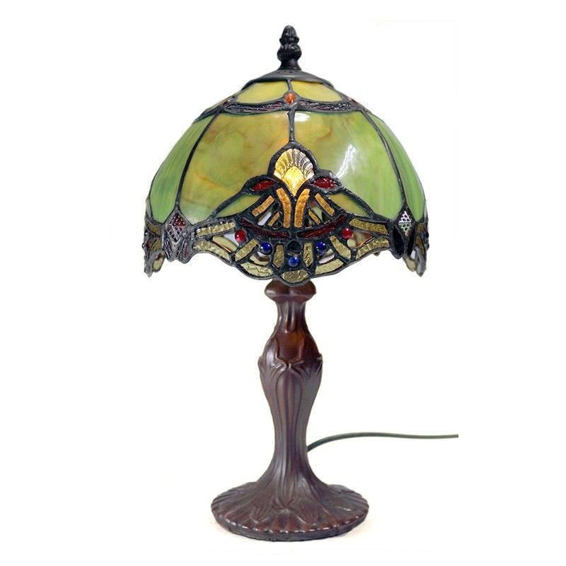 Memphis Tiffany Style Stained Glass Table Lamp, Extra Small, Jade