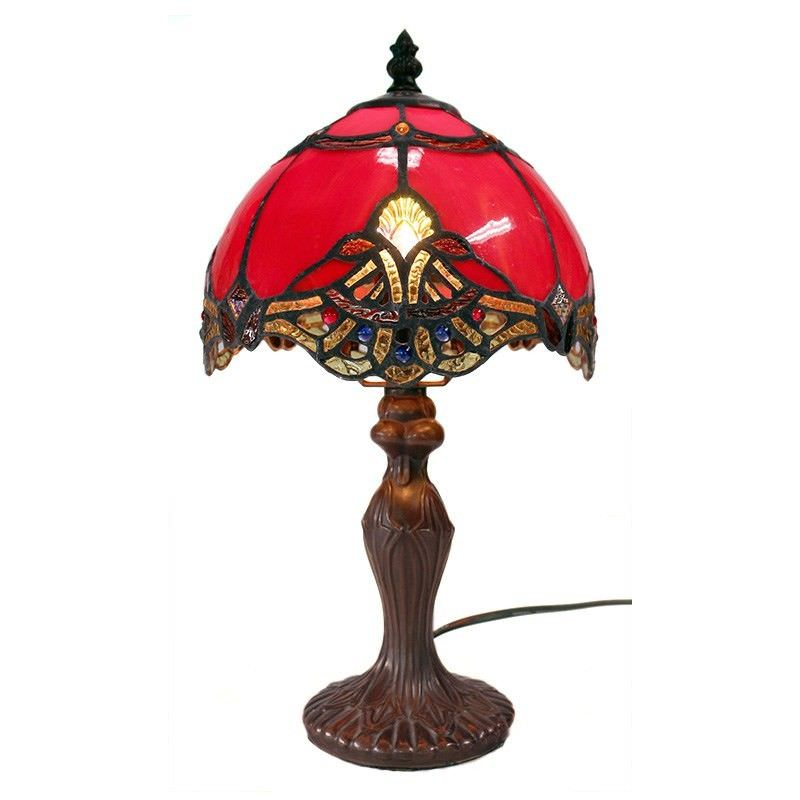 Memphis Tiffany Style Stained Glass Table Lamp, Extra Small, Red