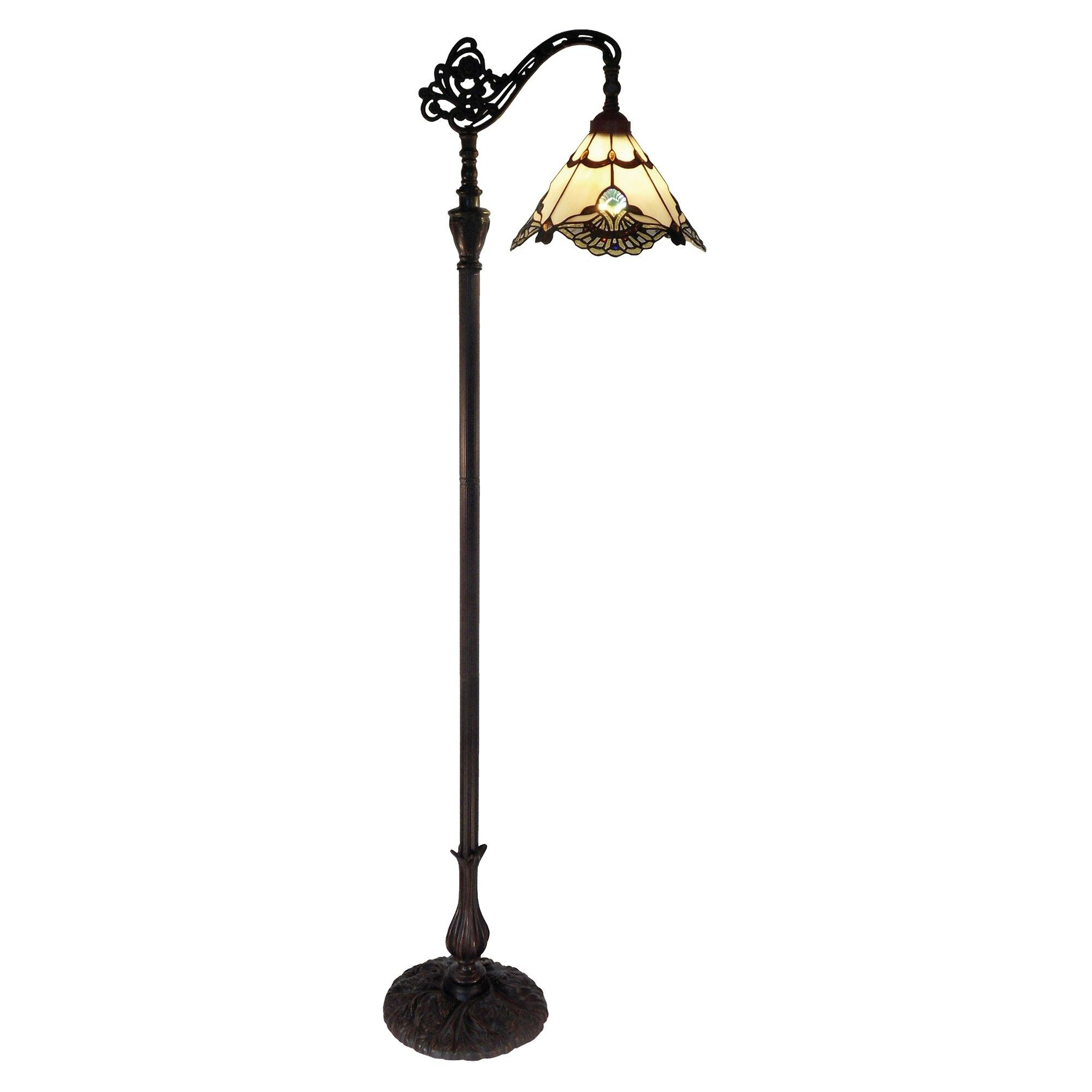 Picture of: Benita Tiffany Style Stained Glass Edwardian Floor Lamp Beige