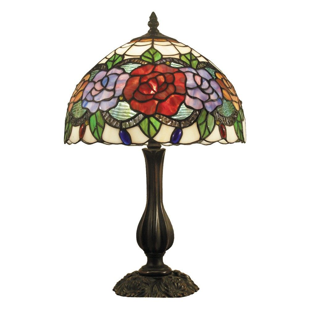 Rose Garden Tiffany Style Stained Glass Table Lamp, Medium