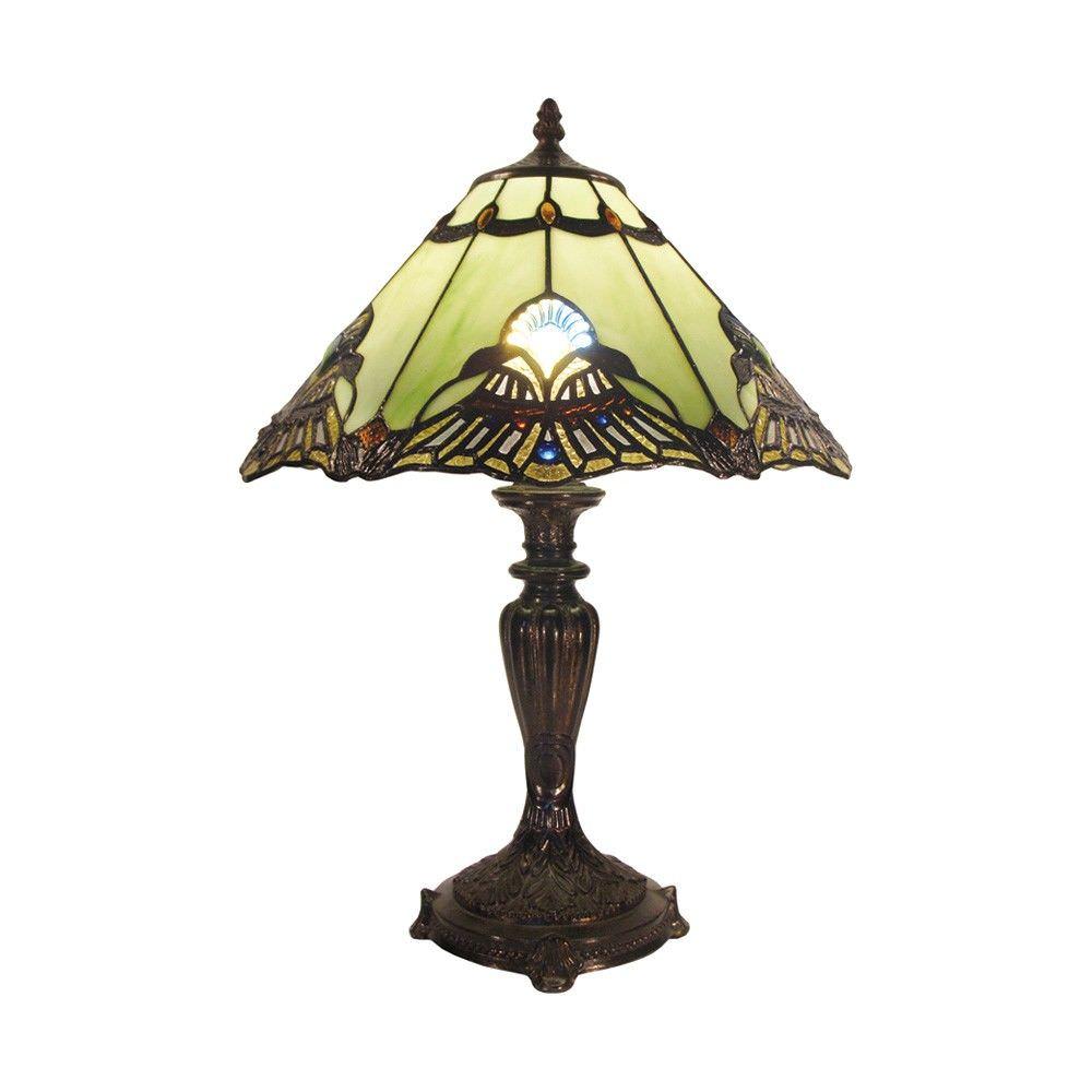 Benita Tiffany Style Stained Glass Table Lamp, Medium, Jade