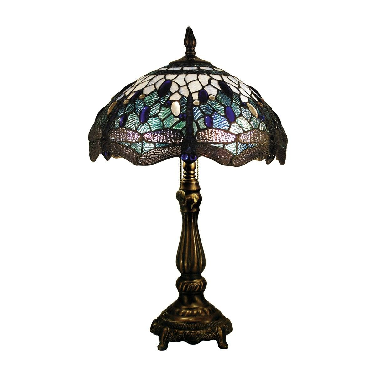 Blue Dragonfly Tiffany Style Stained Glass Table Lamp, Medium