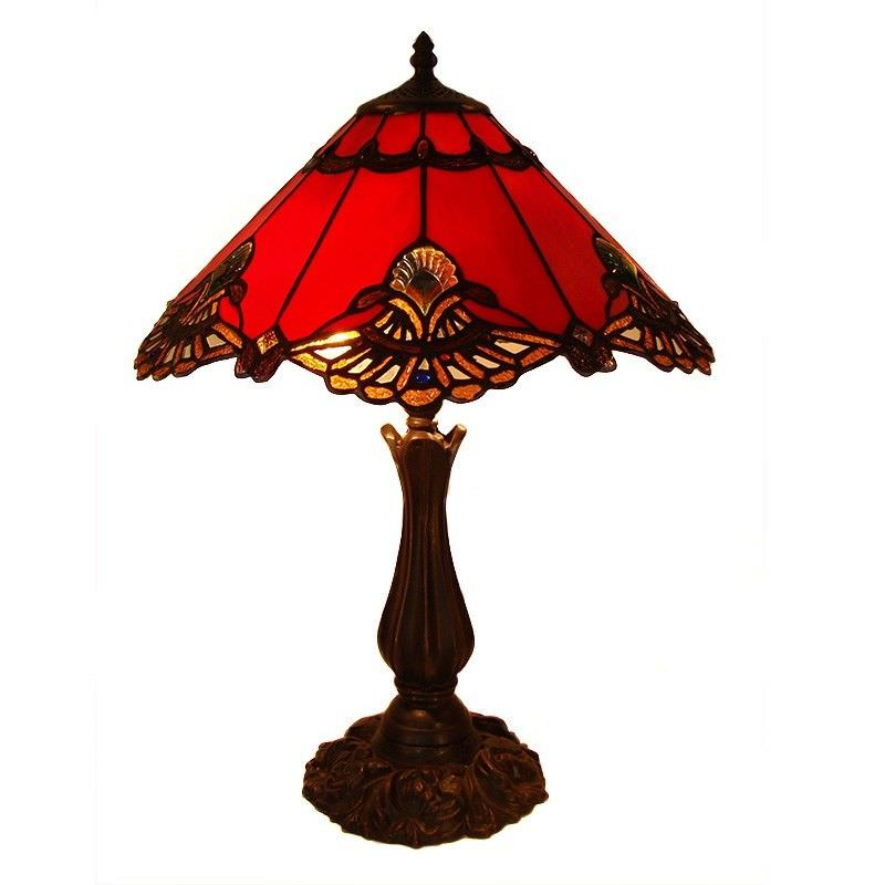 Benita Tiffany Style Stained Glass Table Lamp, Large, Red