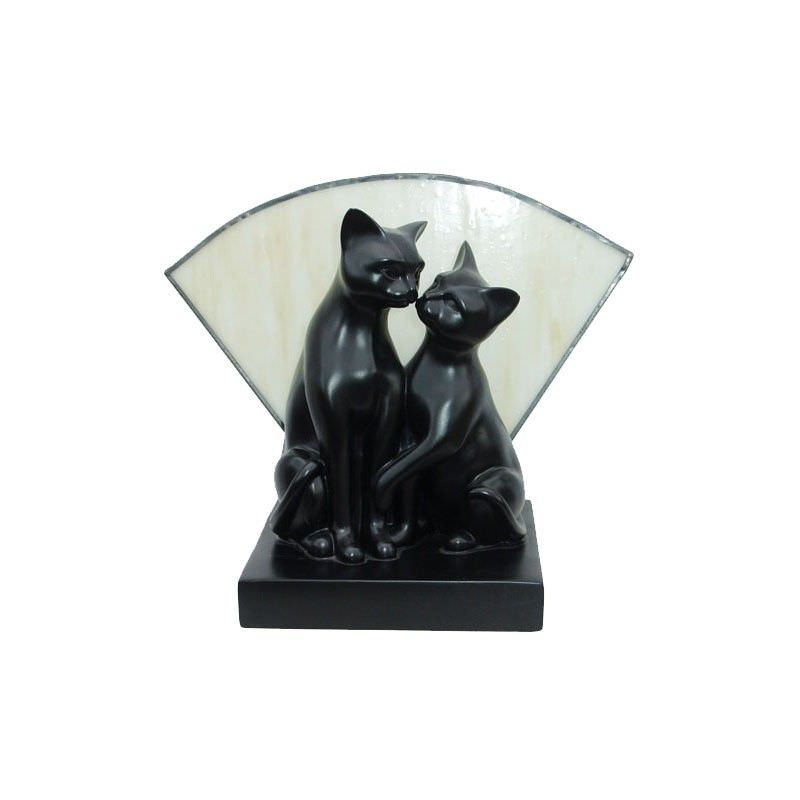 Tiffany Style Stained Glass Statue Table Lamp, Clinging Cats