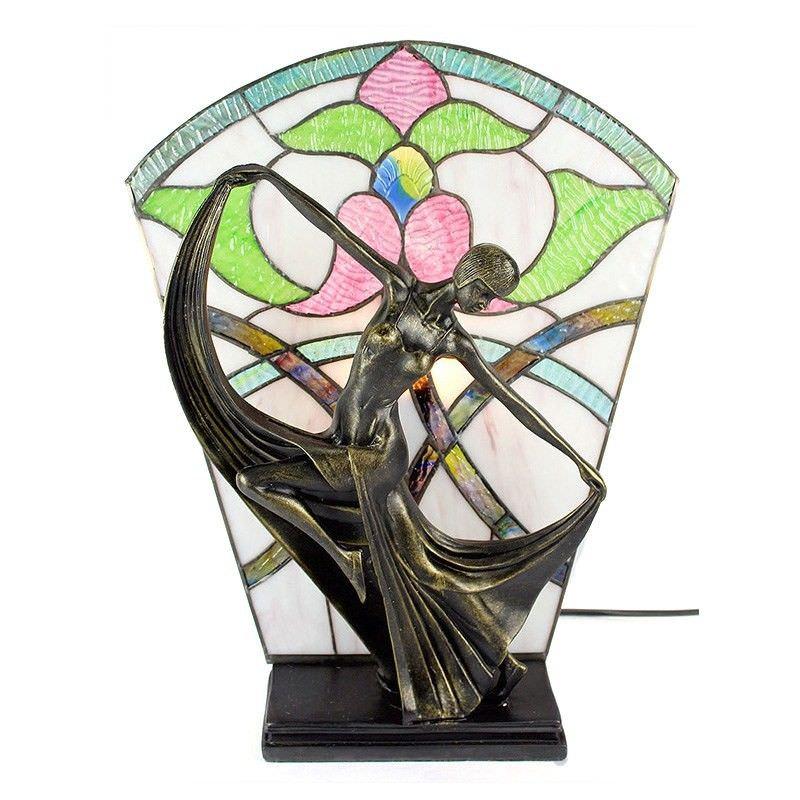 Mazie Tiffany Style Stained Glass Figurine Decor Lamp, Ivory