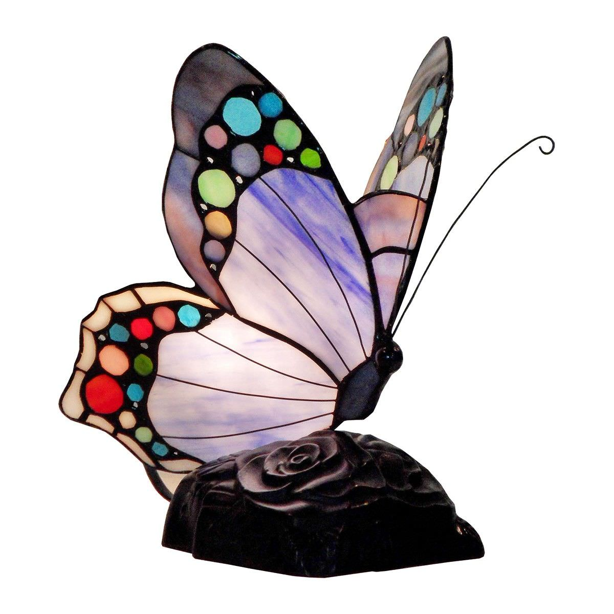 Tiffany Style Stained Glass Butterfly Table Lamp, Type E, Purple