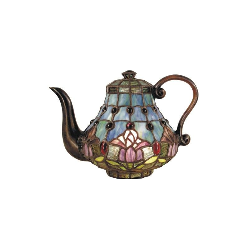 Tiffany Style Stained Glass Statue Table Lamp, Mauve Tulip Teapot