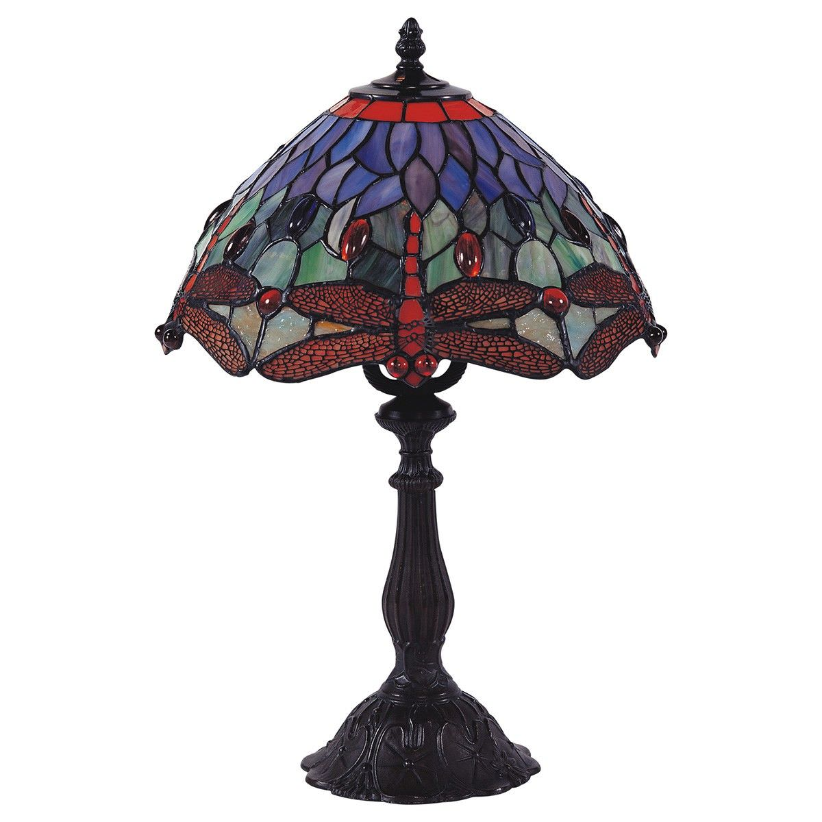 Fantasy Dragonfly Tiffany Style Stained Glass Table Lamp, Medium, Red / Blue