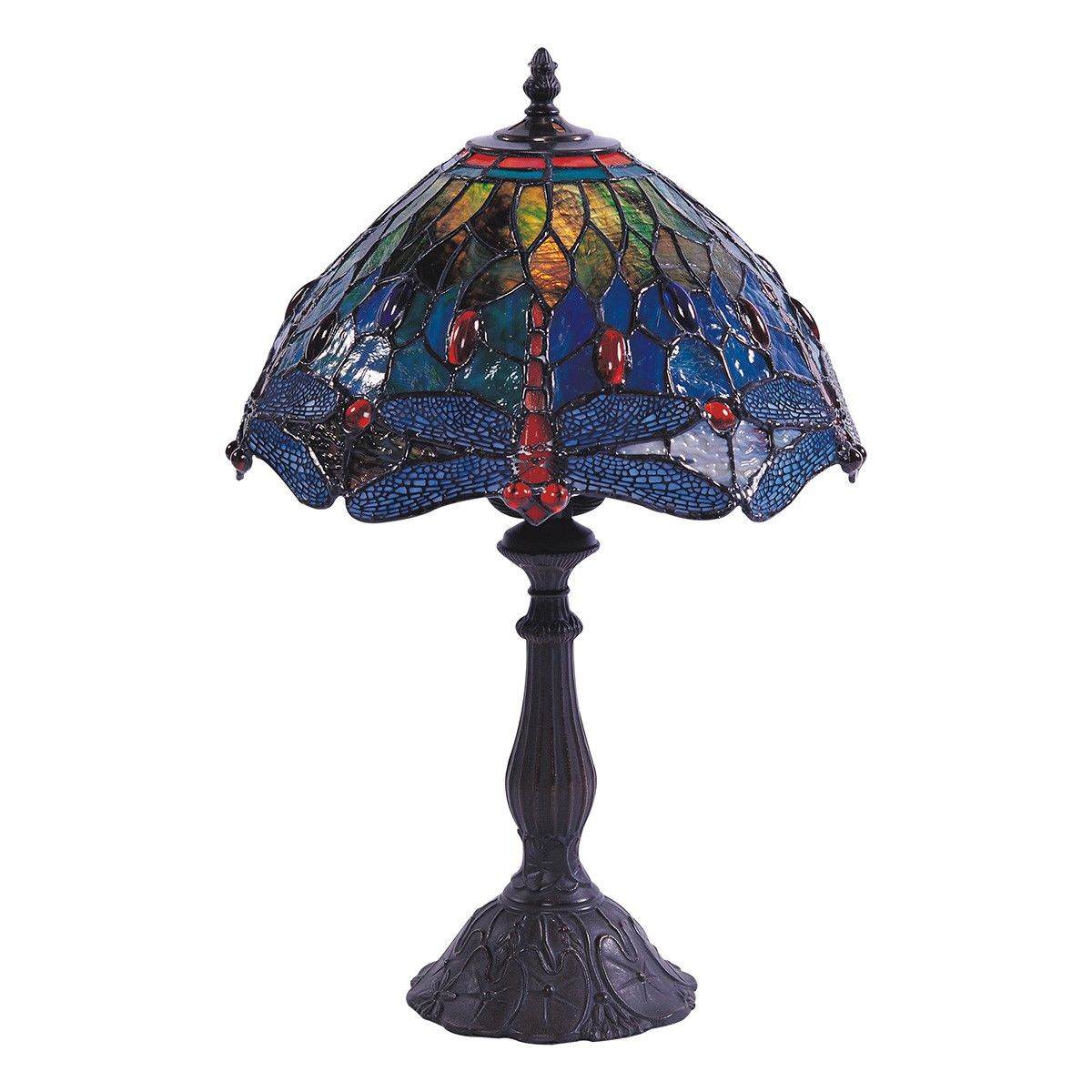 Fantasy Dragonfly Tiffany Style Stained Glass Table Lamp, Medium, Blue / Green