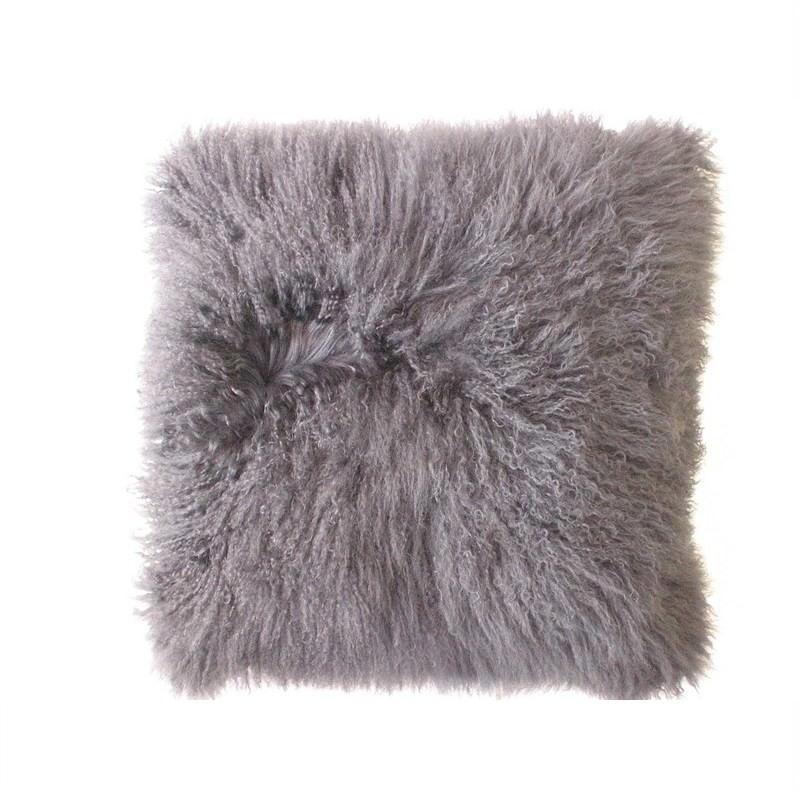 Mongolian Fur Cushion Grey