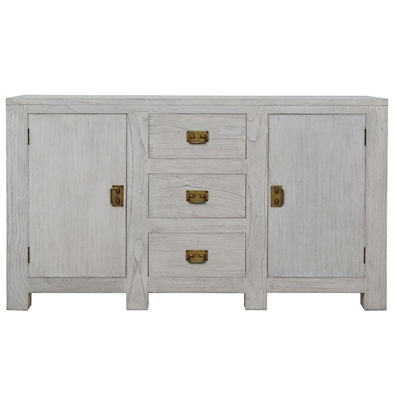 Delois Solid White Cedar Timber 2 Door 3 Drawer 150cm Buffet Table - Grey