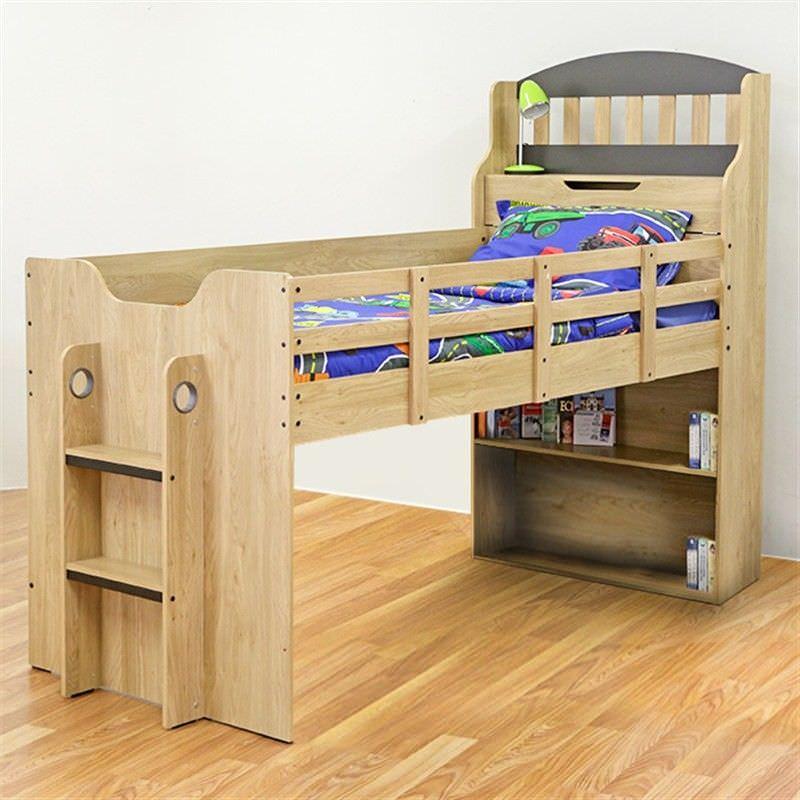 Toby Wooden Cabin Loft Bed, Single