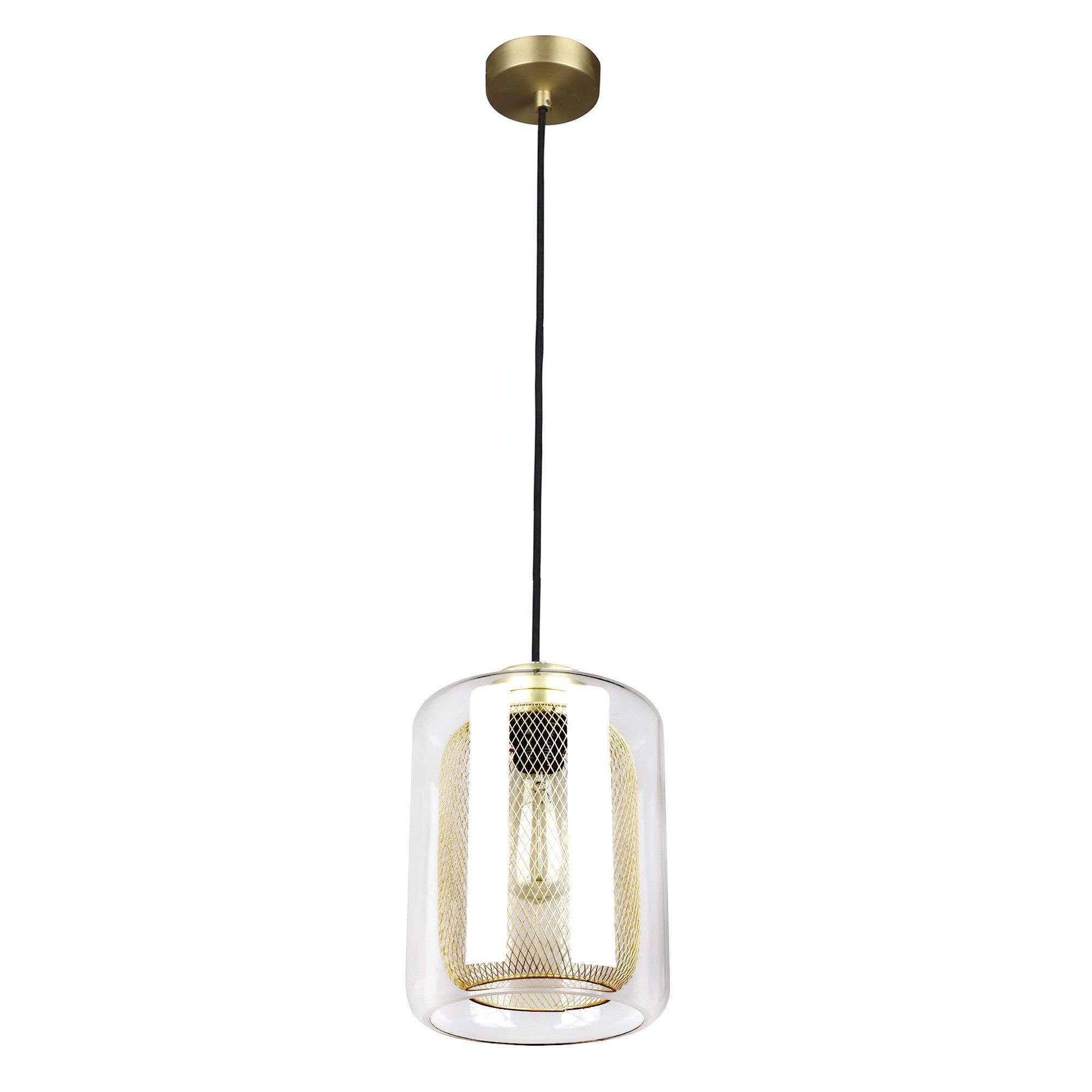 Tono Glass & Iron Mesh Pendant Light, Brass
