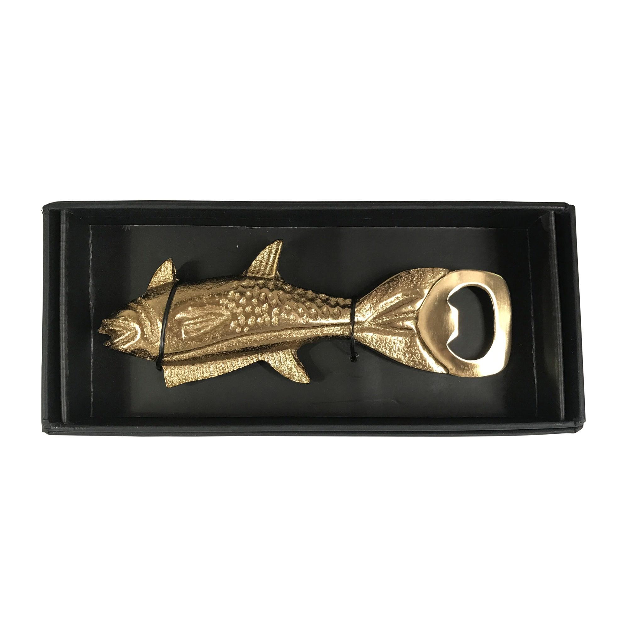 Cairns Aluminium Bottle Opener, Salmon Fish, Antique Gold
