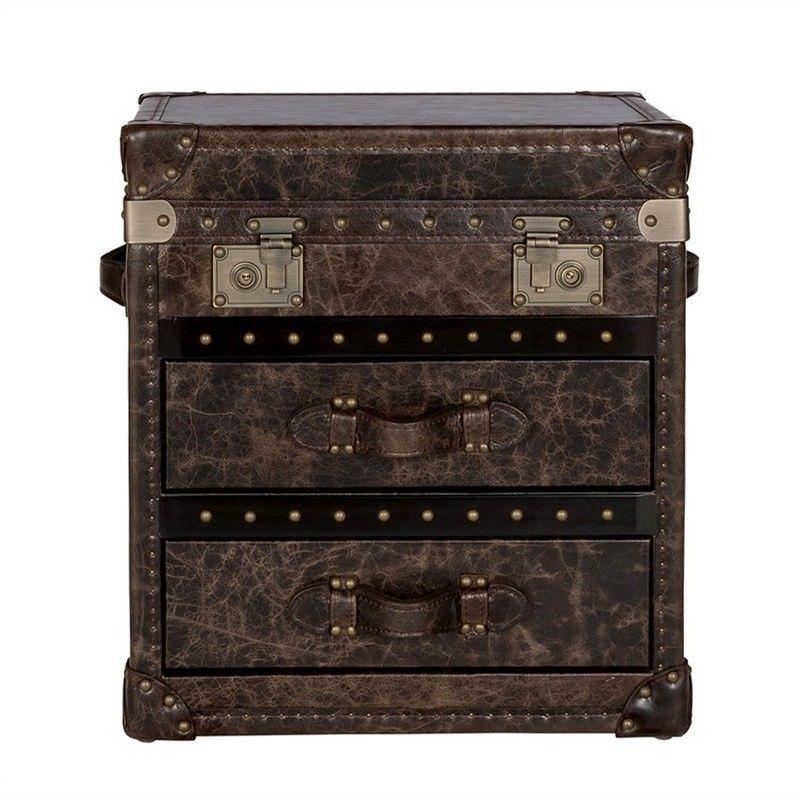 Jamison Vintage Leather 2 Drawer Trunk Side Table, Espresso
