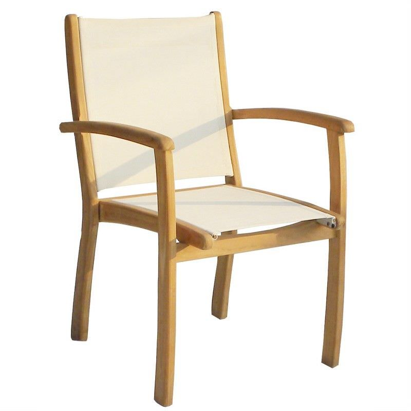 Hampton Fabric & Solid Teak Timber Outdoor Stackable Dining Armchair
