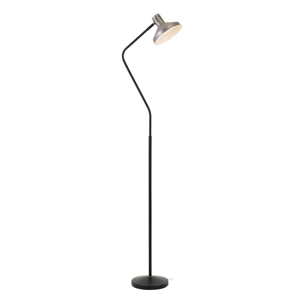 Trevi Metal Floor Lamp, Nickel / Black