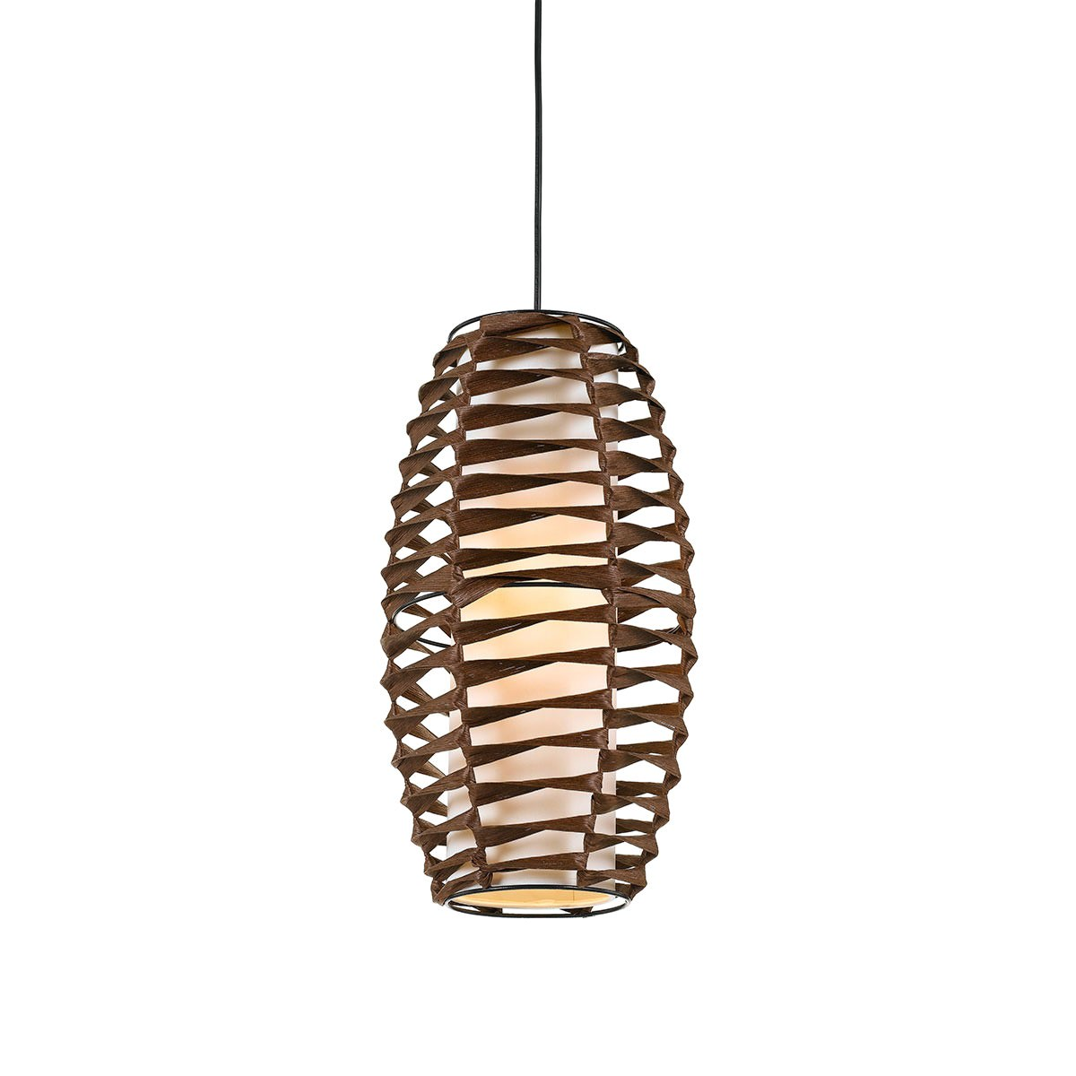 Tribe Woven Paper Prolate Spheroid Pendant Light, Small, Brown