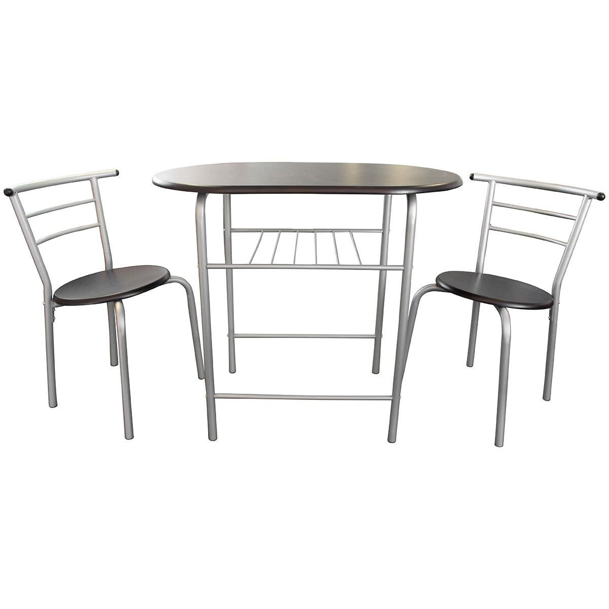 Lofty 3 Piece Breakfast Table Set, Walnut / Silver