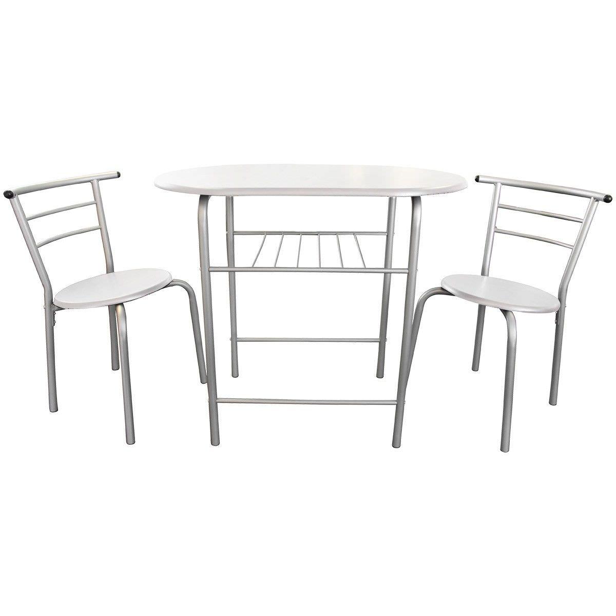 Lofty 3 Piece Breakfast Table Set, White / Silver