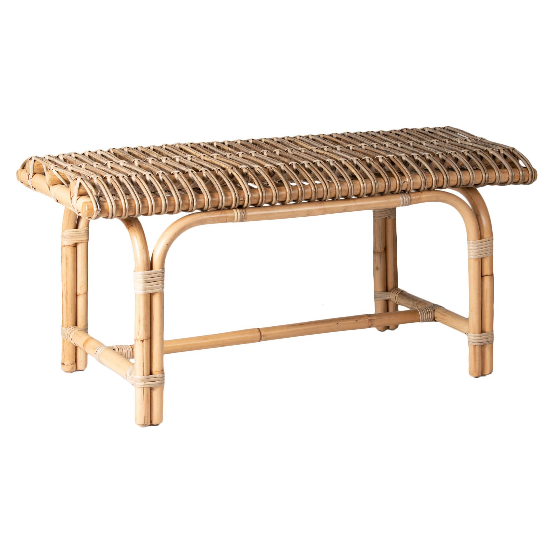 Homestead Rattan Bench, 100cm, Natural