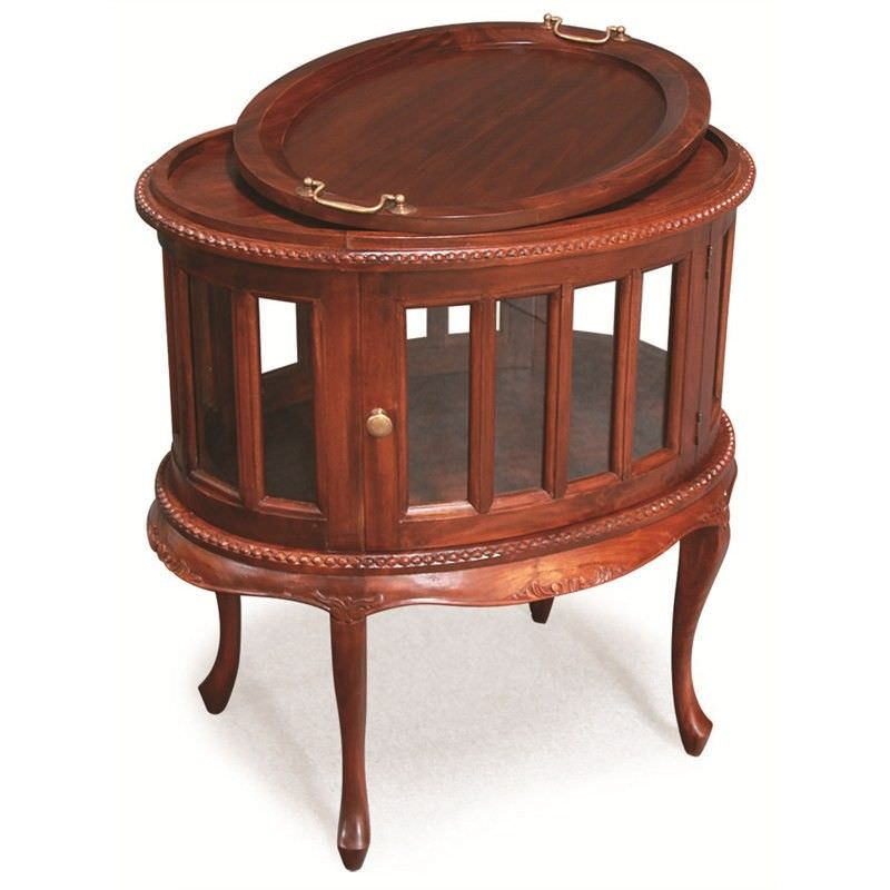 Oval Solid Mahogany Tea Table W-Cabriole Legs - Mahogany