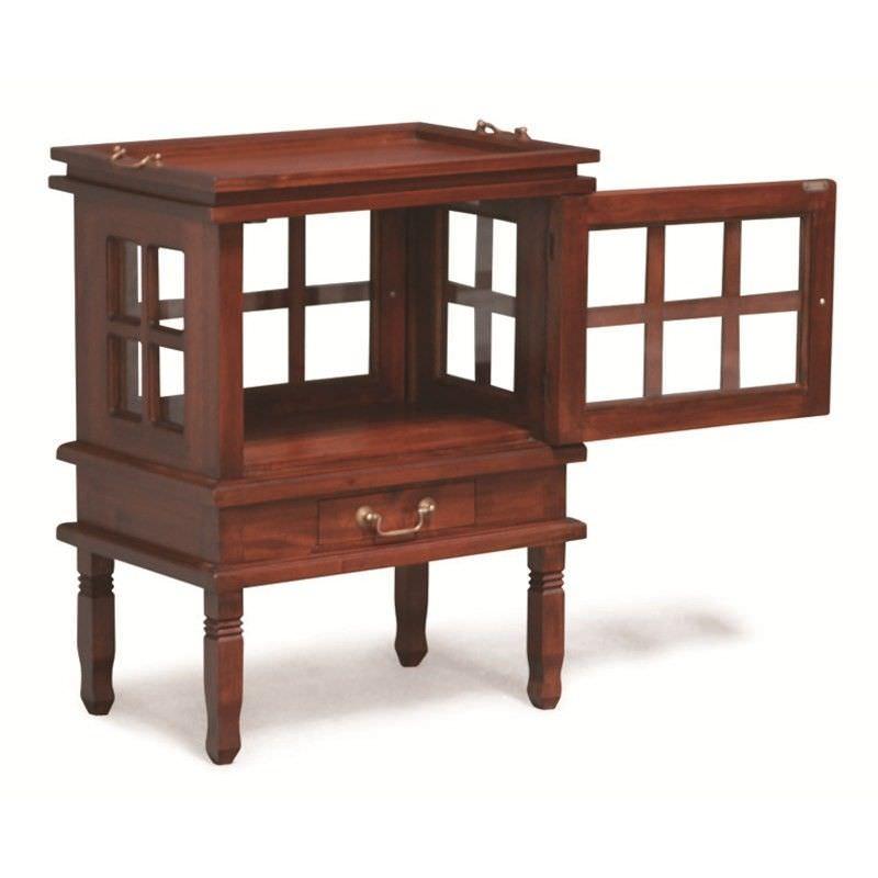 1 Drawer Solid Mahogany Tea Table, Mahogany