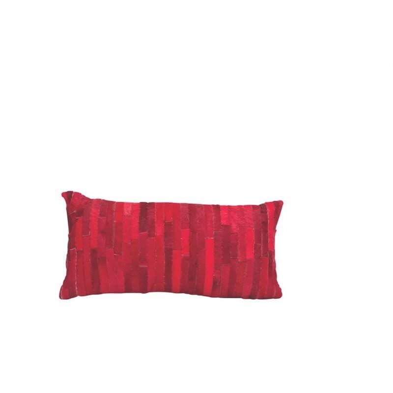 Thatch Calf Hide Pillow Red