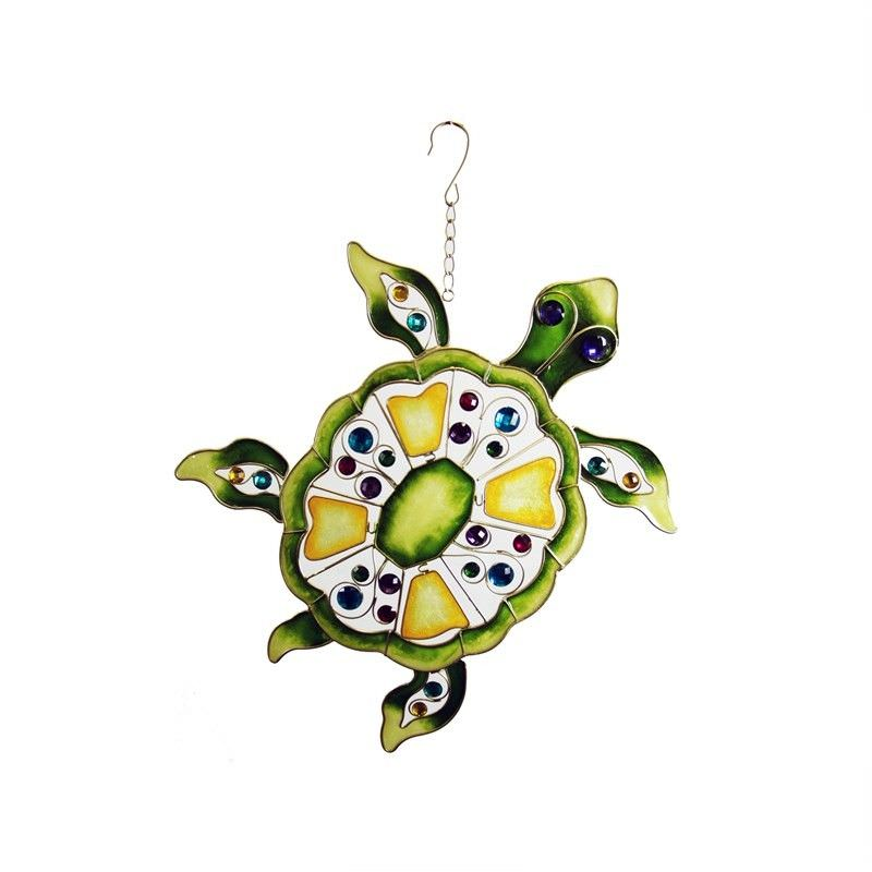 Metal Turtle With Gems Decor Wall Art