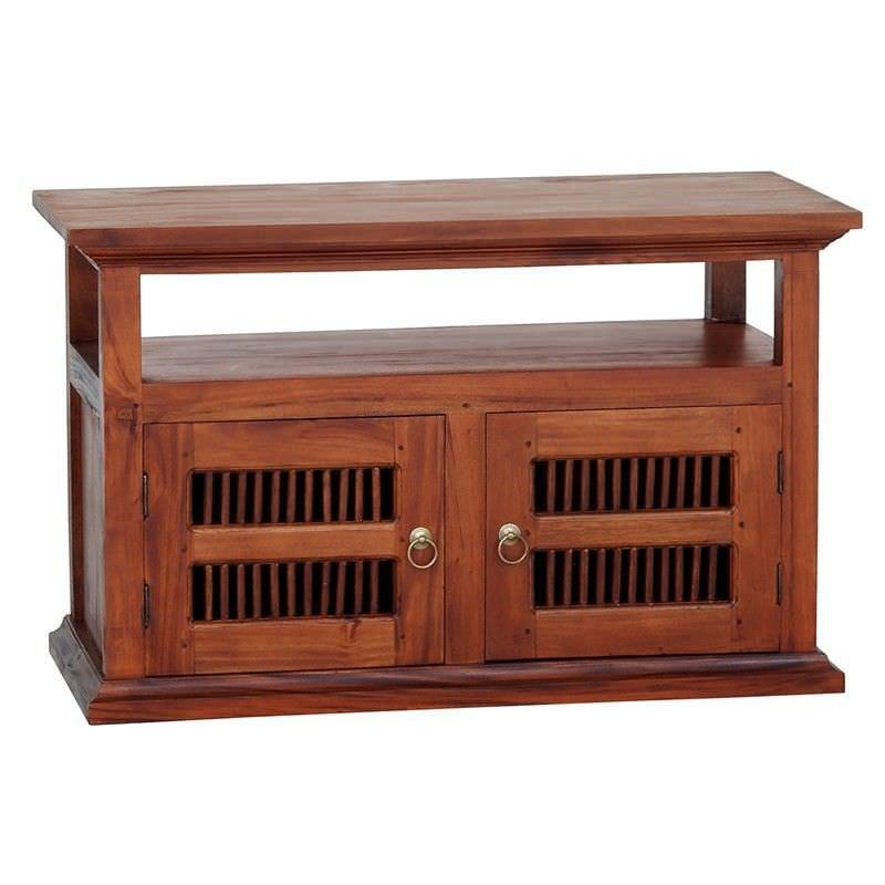 Ruji Mahogany Timber 2 Door TV Stand, 97cm, Light Pecan