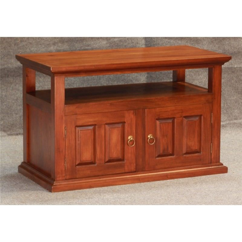 Tasmania Mahogany Timber 2 Drawer 97cm TV Stand, Mahogany