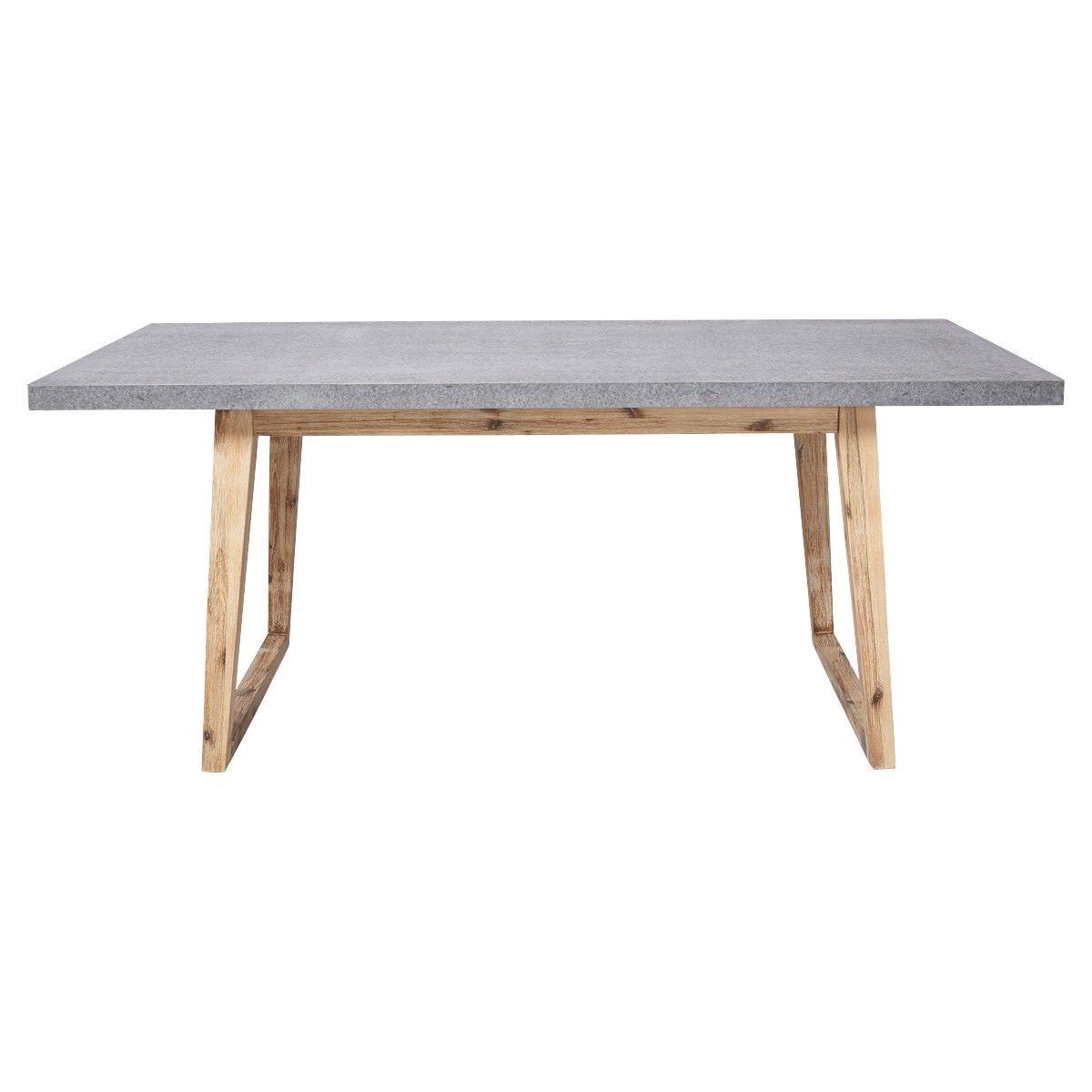 Bentley Cement Top Timber Indoor / Outdoor Dining Table, 180cm, Grey / Natural