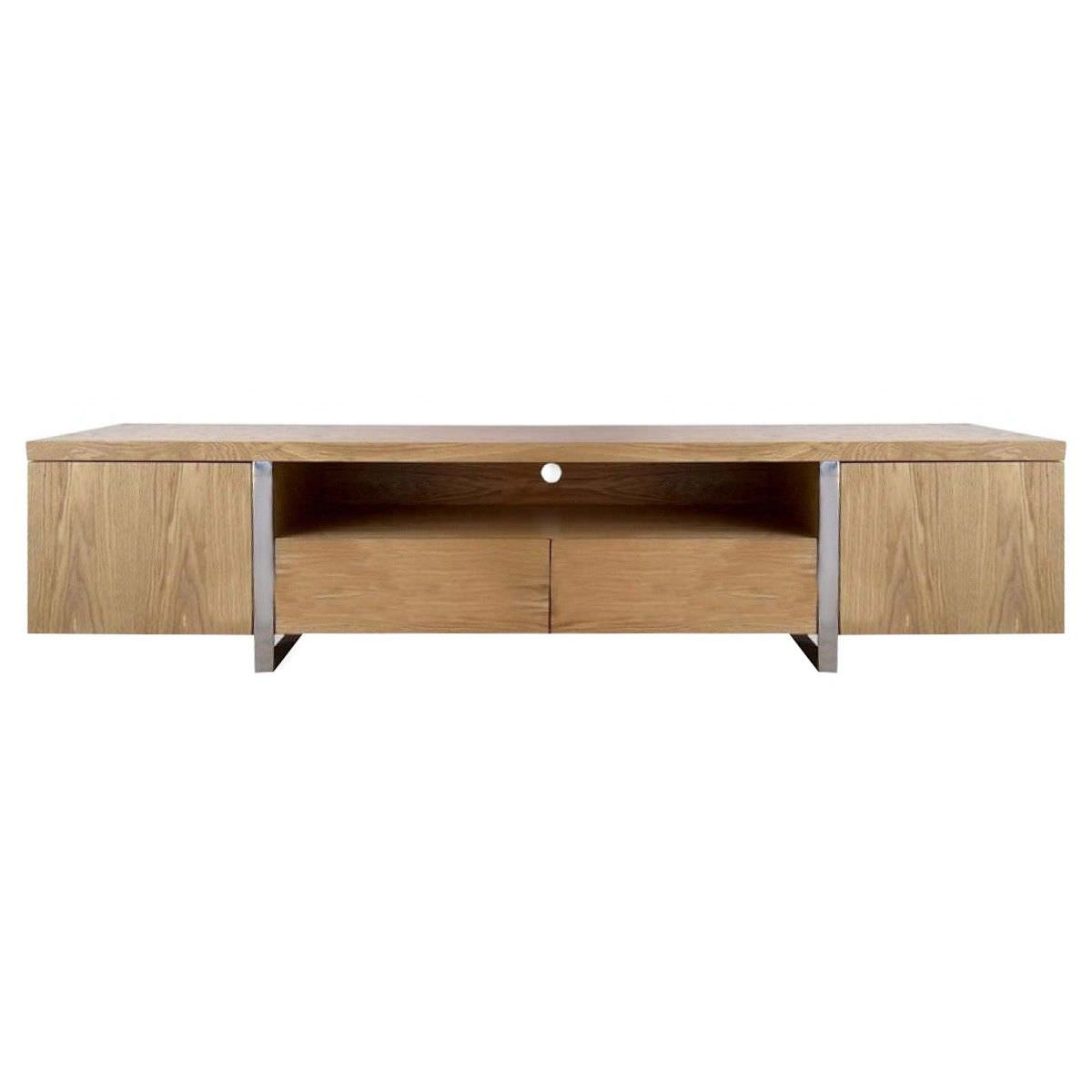 Stanford Wooden 2 Door 2 Drawer Lowline TV Unit, 210cm, Oak